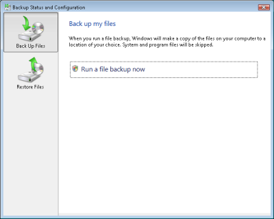 Backup Status and Configuration in Windows Vista