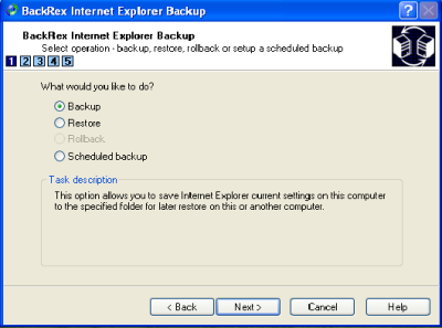 BackRex Internet Explorer Backup