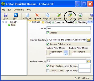 Arctor Disk2Disk Backup