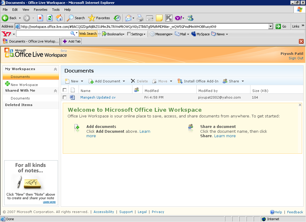 Microsoft Office Live Workspace Your Online Office