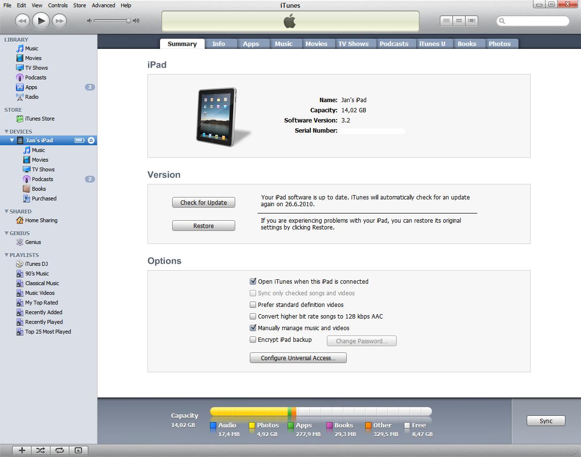 Apple iPad backup and iTunes