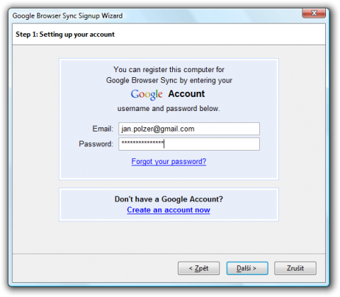 Google Browser Sync Signup Wizard
