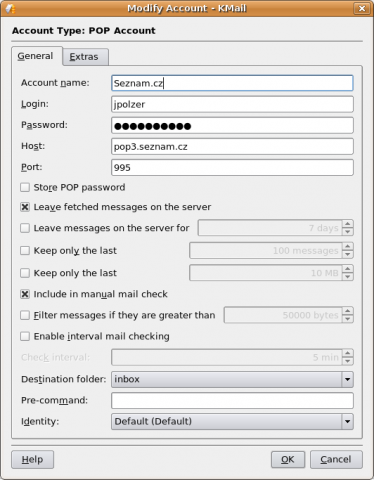 KMail account settings