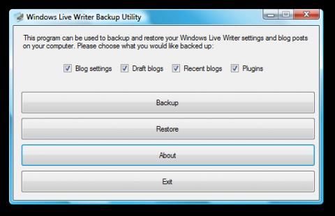 Windows Live Writer Backup Utility