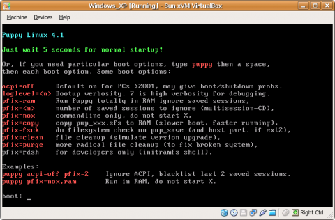 Puppy Linux boot screen