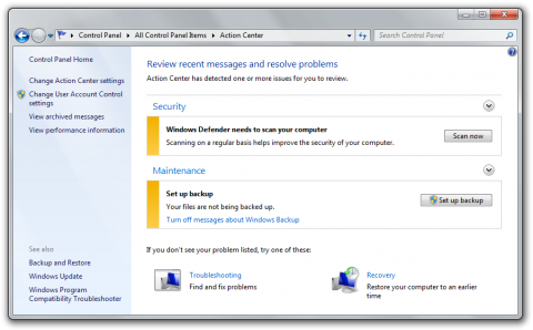 Action Center in Windows 7