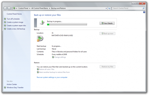 Windows 7's Backup and Restore tool in action
