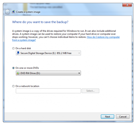 Create a system image in Windows 7