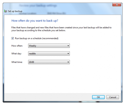 Change backup scheduler in Windows 7