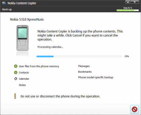 Nokia PC Suite and the backup process of Nokia 5310 XpressMusic