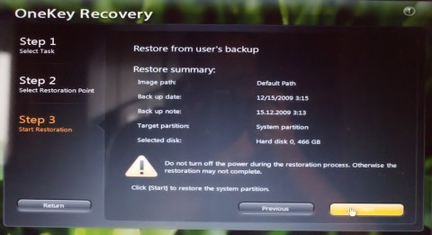 OneKey Backup and Recovery on Lenovo IdeaPad Y550