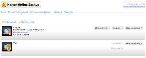 Norton Online Backup web access