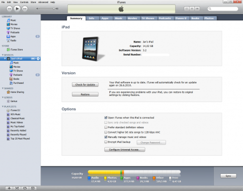 Apple iPad backup and iTunes