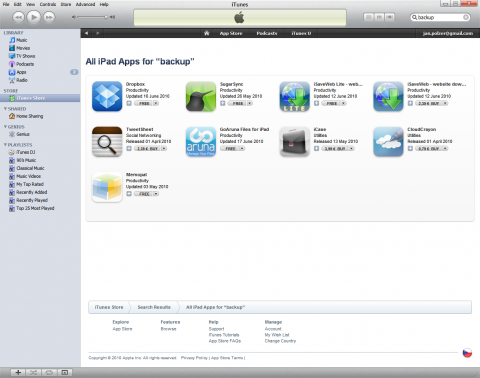 Apple iPad backup and AppStore