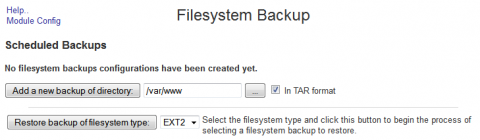 1. Setting up a website backup in Webmin