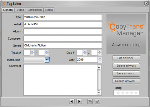 CopyTrans manager Tag Editor