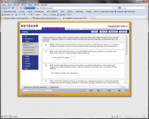 Netgear ReadyNAS Ultra RNDU4220 web control