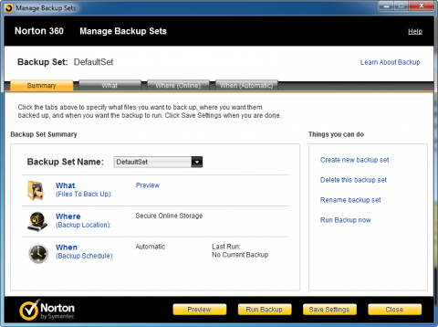 Norton 360 5.0 - managing backup sets