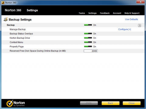 Norton 360 5.0 - backup settings