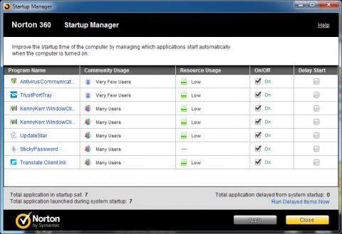 Norton 360 5.0 - startup manager